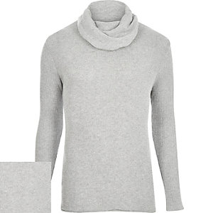 Grey textured long sleeve cowl neck jumper