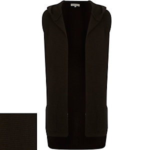 Black ribbed sleeveless hooded cardigan