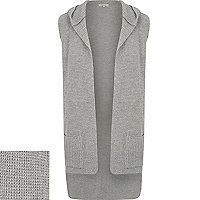 Grey ribbed sleeveless hooded cardigan