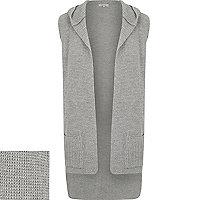 Grey ribbed sleeveless hooded cardigan