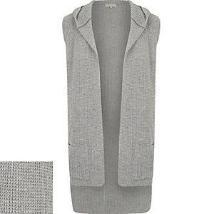 Grey knitted sleeveless hooded cardigan