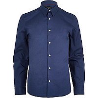 Navy blue long sleeve shirt