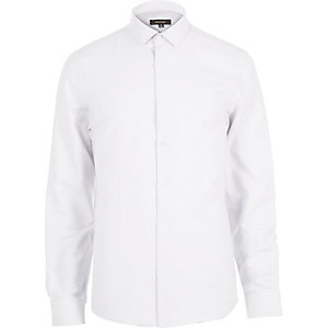 White dobby textured shirt