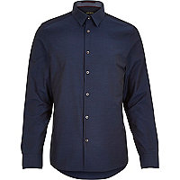 Navy blue dobby textured shirt