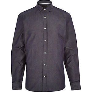 Navy dark denim long sleeve shirt