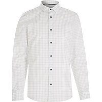 White large check long sleeve shirt