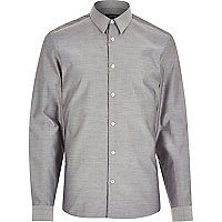 Silver grey melange long sleeve shirt