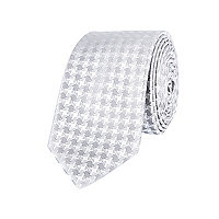 Silver grey dogstooth print tie