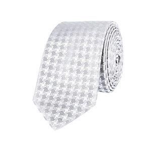 Silver grey dogstooth print tie