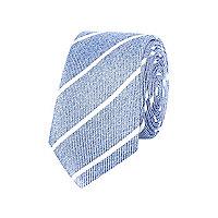 Blue diagonal stripe silk tie
