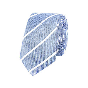 Blue diagonal stripe silk tie