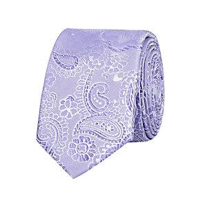 Purple floral jacquard tie
