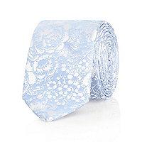 Blue floral jacquard tie