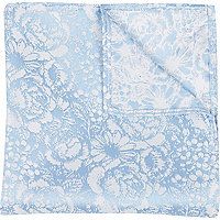 Blue jacquard pocket square
