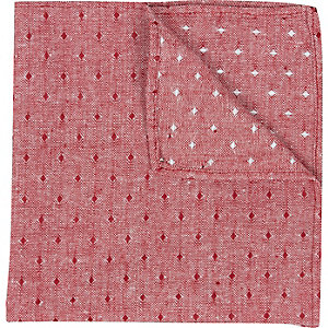 Red chambray square print pocket square