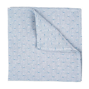 Blue chambray square print pocket square