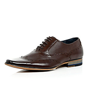 Dark brown panelled lace up formal shoes