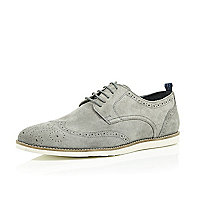 Grey suede wedge brogues