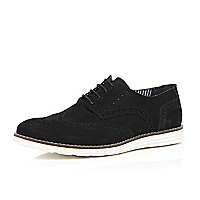 Black suede wedged brogues