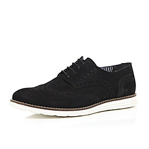 Black suede wedge brogues
