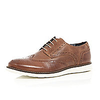 Brown leather wedge brogues