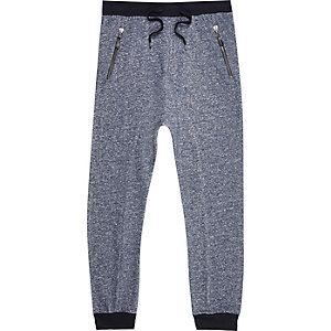 Blue marl drop crotch joggers