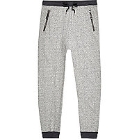Grey marl drop crotch joggers