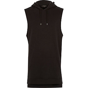 Black longer length sleeveless hoodie