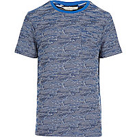 Blue textured short sleeve t-shirt
