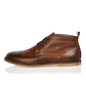 Brown leather lace up desert boots