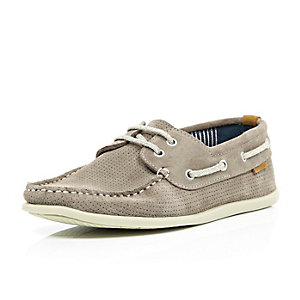 Stone perforated suede boat shoes
