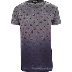 Navy faded swallow print t-shirt