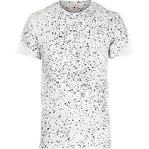 White plaint splatter short sleeve t-shirt