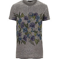 Dark grey chest placement print t-shirt