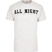 Grey marl all night slogan print t-shirt