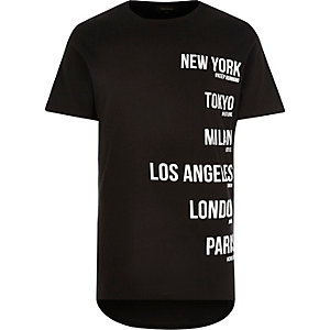 Black city names short sleeve t-shirt