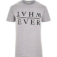 Grey marl whatever slogan print t-shirt