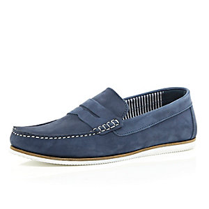 Navy smart nubuck leather loafers
