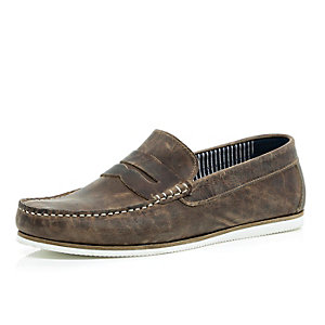 Brown smart leather loafers