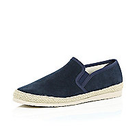 Navy suede slip on plimsolls