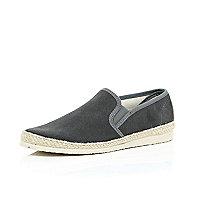 Grey suede slip on plimsolls