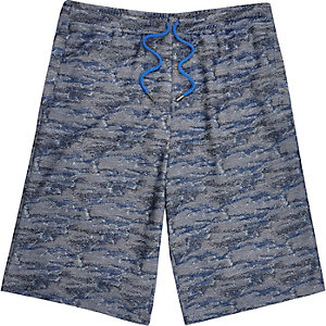Blue textured jersey drawstring shorts