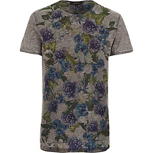 Dark grey floral placement print t-shirt