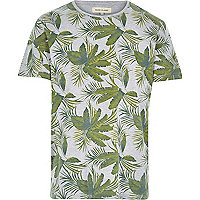 Grey palm tree leaf print t-shirt