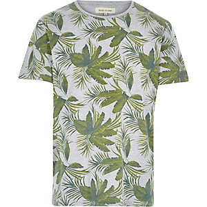 Grey palm tree leaf print t-shirt