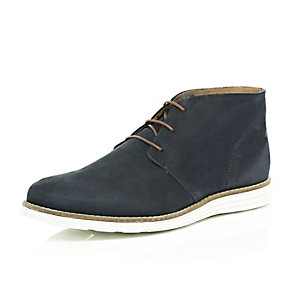 Navy nubuck leather chukka boots