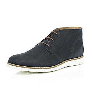 Navy nubuck leather chukka boots