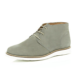 Light grey nubuck leather wedge chukka boots