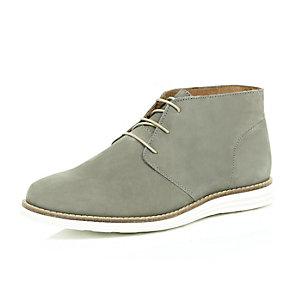 Light grey nubuck leather wedge chukka boots