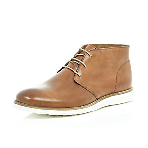 Brown leather wedge chukka boots